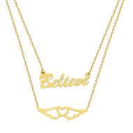 14K Gold Duo E2W Believe In Your Journey Adjustable Necklace