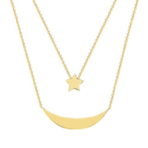 14K Yellow Gold Duo Celestial Moon Star Necklace with Adjustable Chain