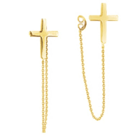 14K Yellow Gold Front to Back Cross Chain Earrings