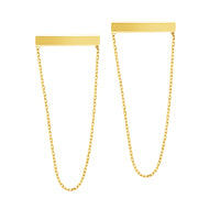 14K Gold Staple With Dangle Chain Earrings