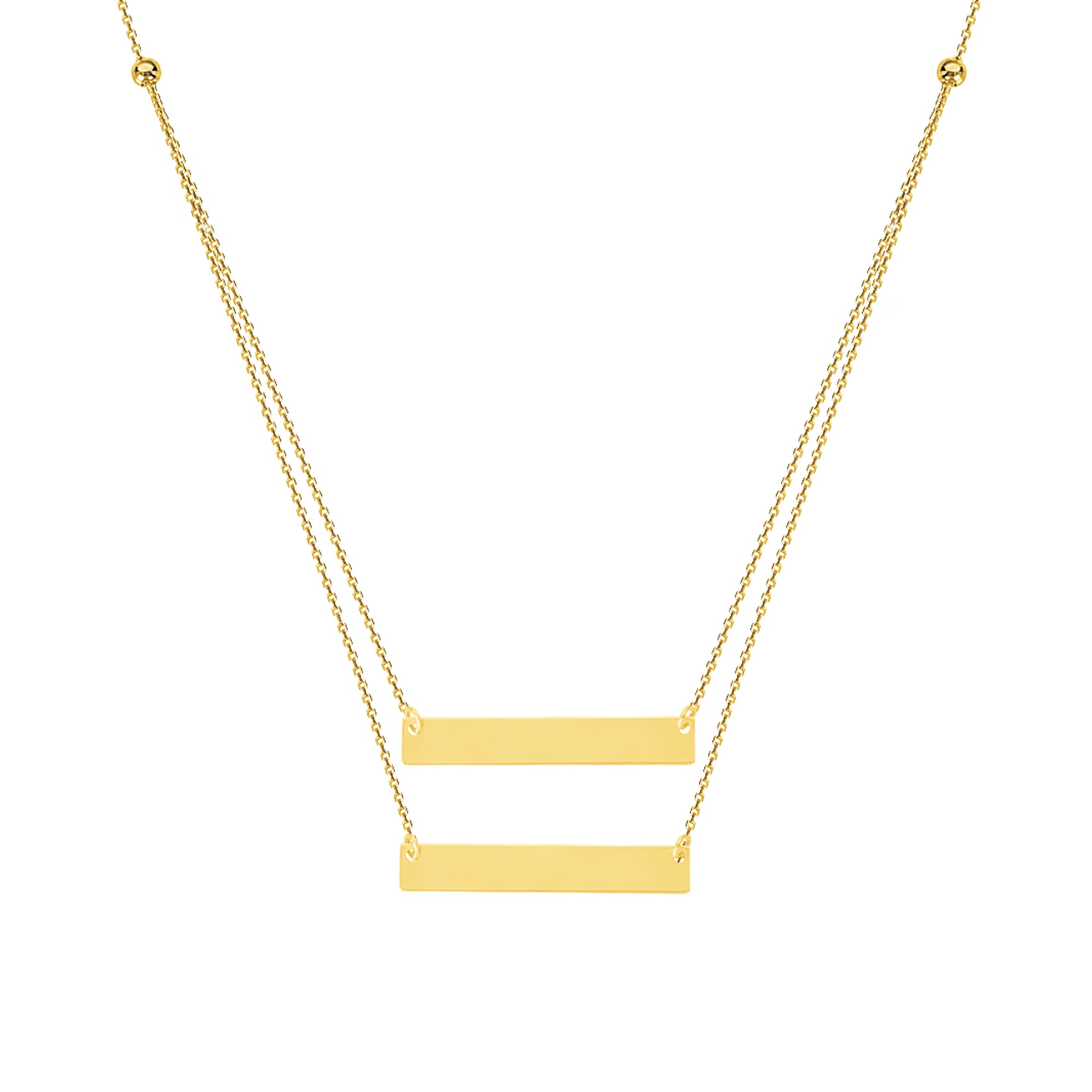 14K Yellow Gold Duo Mini Bar Plate Necklace