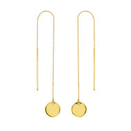14K Yellow Gold Round Disc Box Chain Threader Earrings