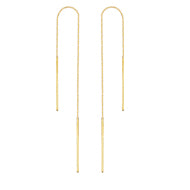 14K Gold Thin Bar Box Chain Threader Earrings