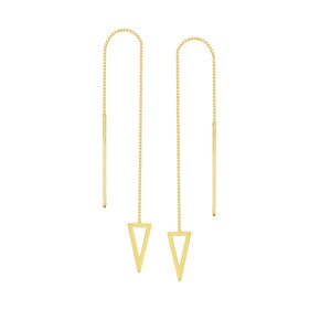 14K Gold Draw The Line Bianca Pyramid Threader Earrings