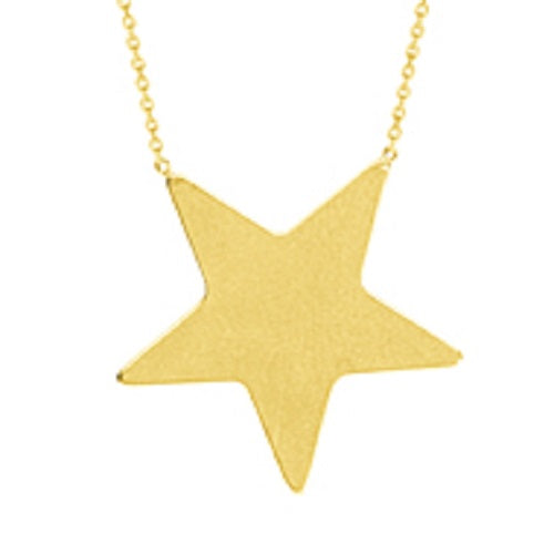 14K Yellow Gold Star Necklace With Adjustable Chain