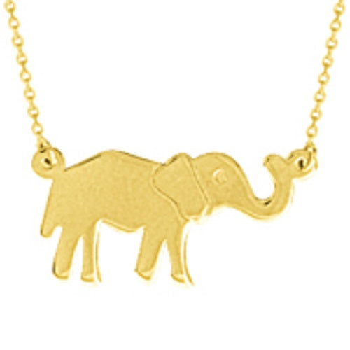 14K Yellow Gold Small Elephant Necklace with adjustable Chain