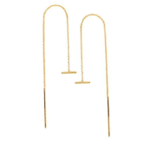 14K Yellow Gold Mini Bar Threader Earrings - Cable Chain