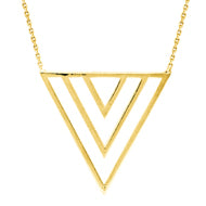 "14K Yellow Gold Draw The Line Trio ""V"" Necklace"