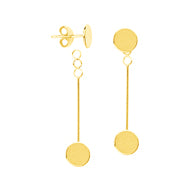 14K Gold Disk Stud with Dangle Bar Earrings