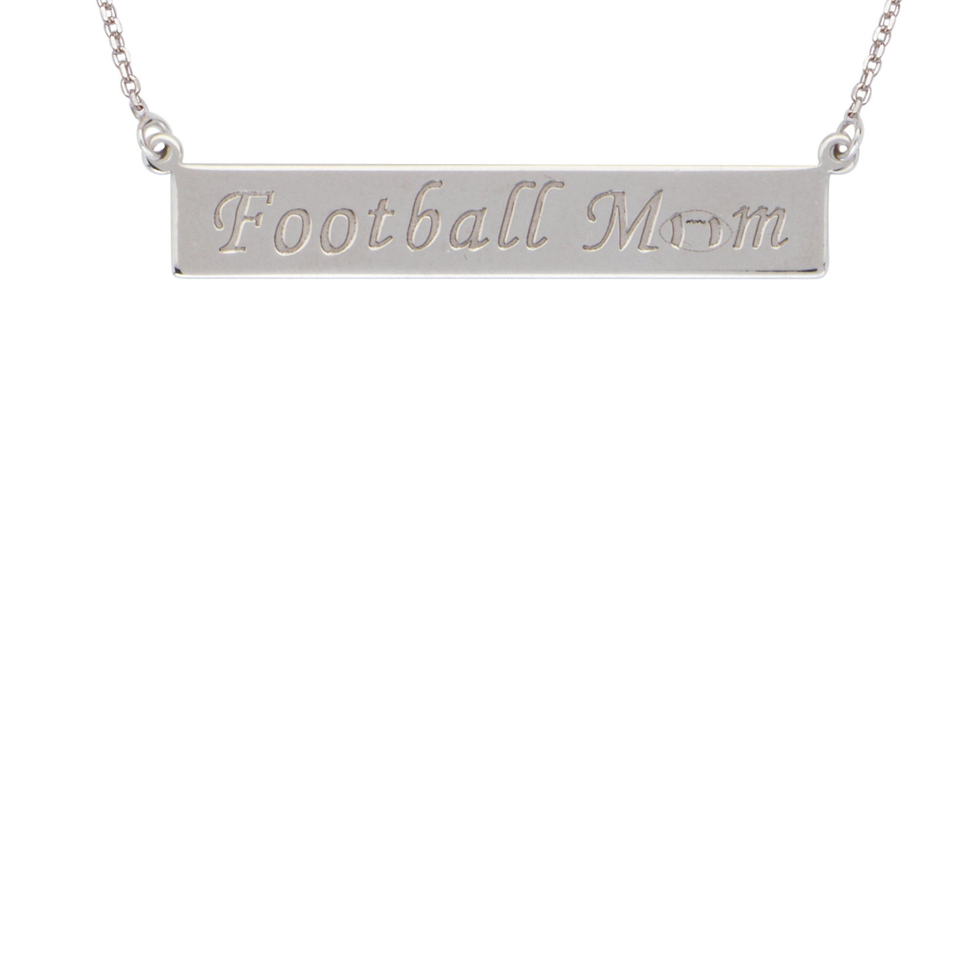 Sterling Silver Football Mom Engraved Bar Necklace