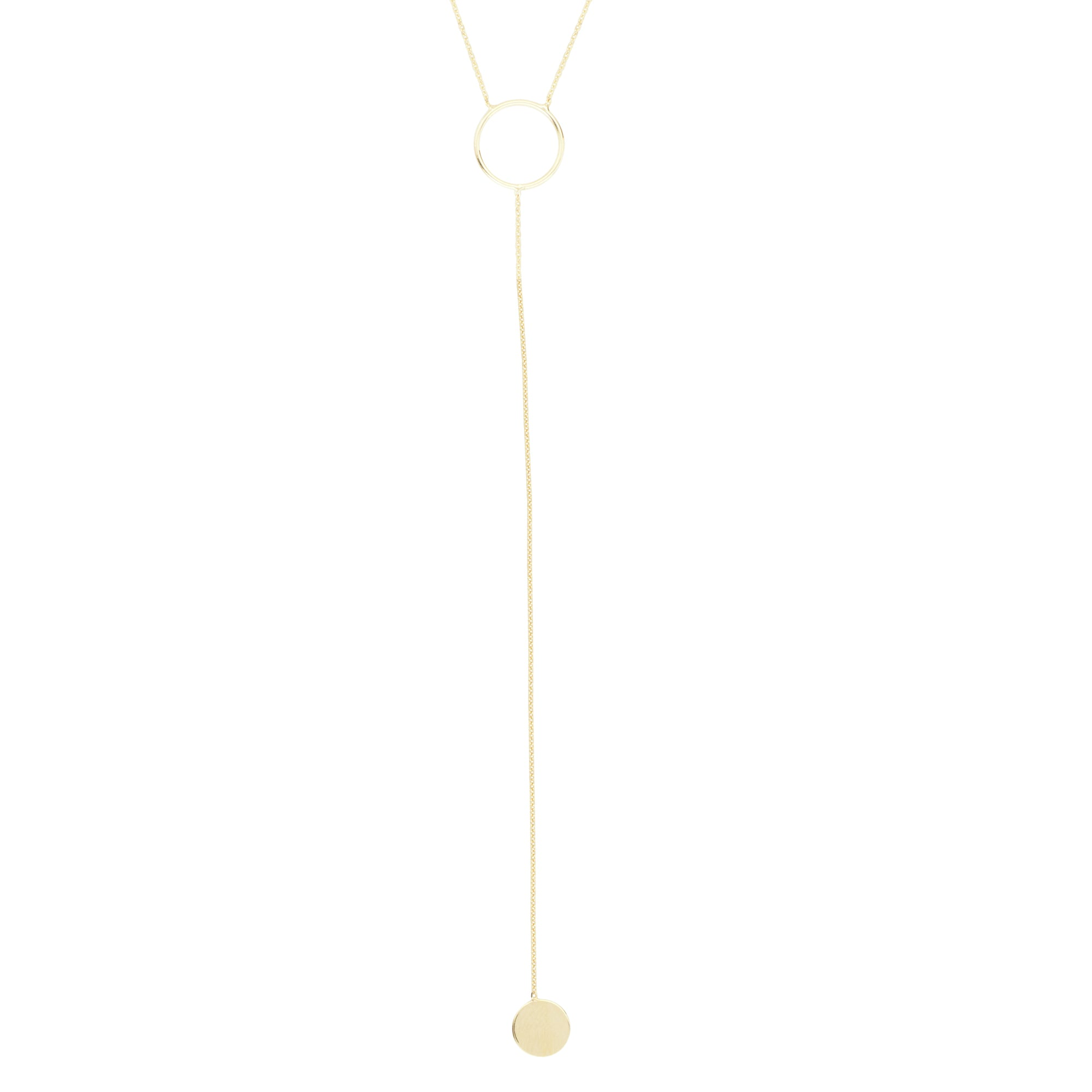 14K Yellow Gold Hawley St, Circle and Small Disk Lariat Necklace
