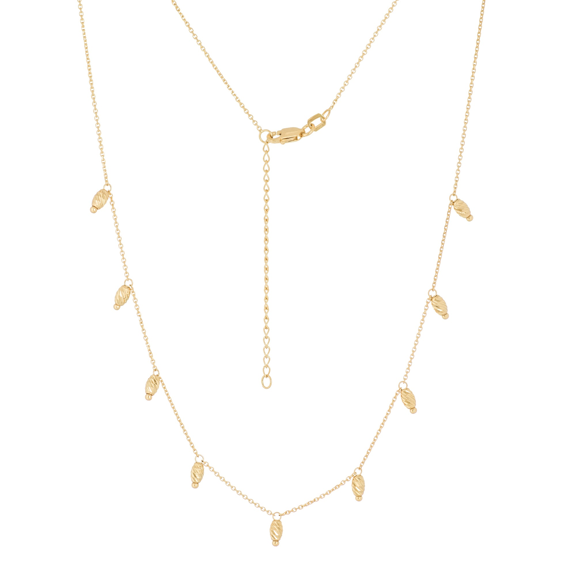 14K Yellow Gold Bead Stations 9pcs Adjustable Necklace with Cable Chain