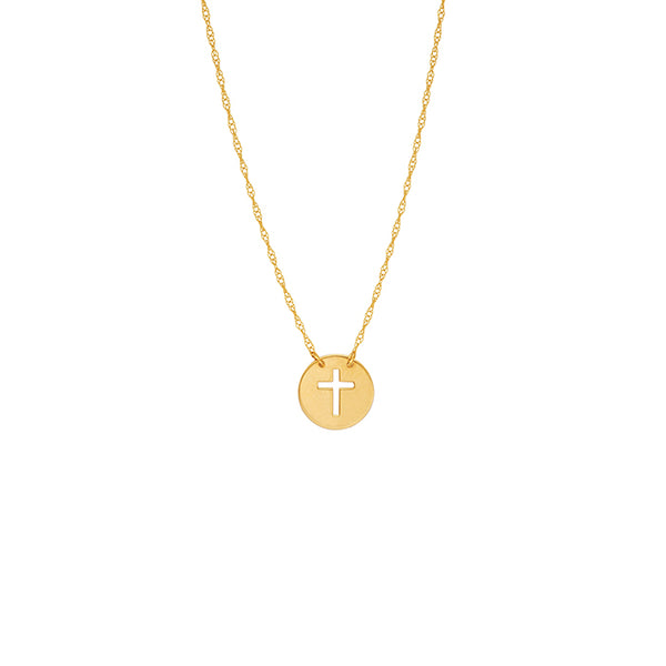 14K Yellow Gold Mini Disk Cut Out Cross Dainty Necklace - Minimalist