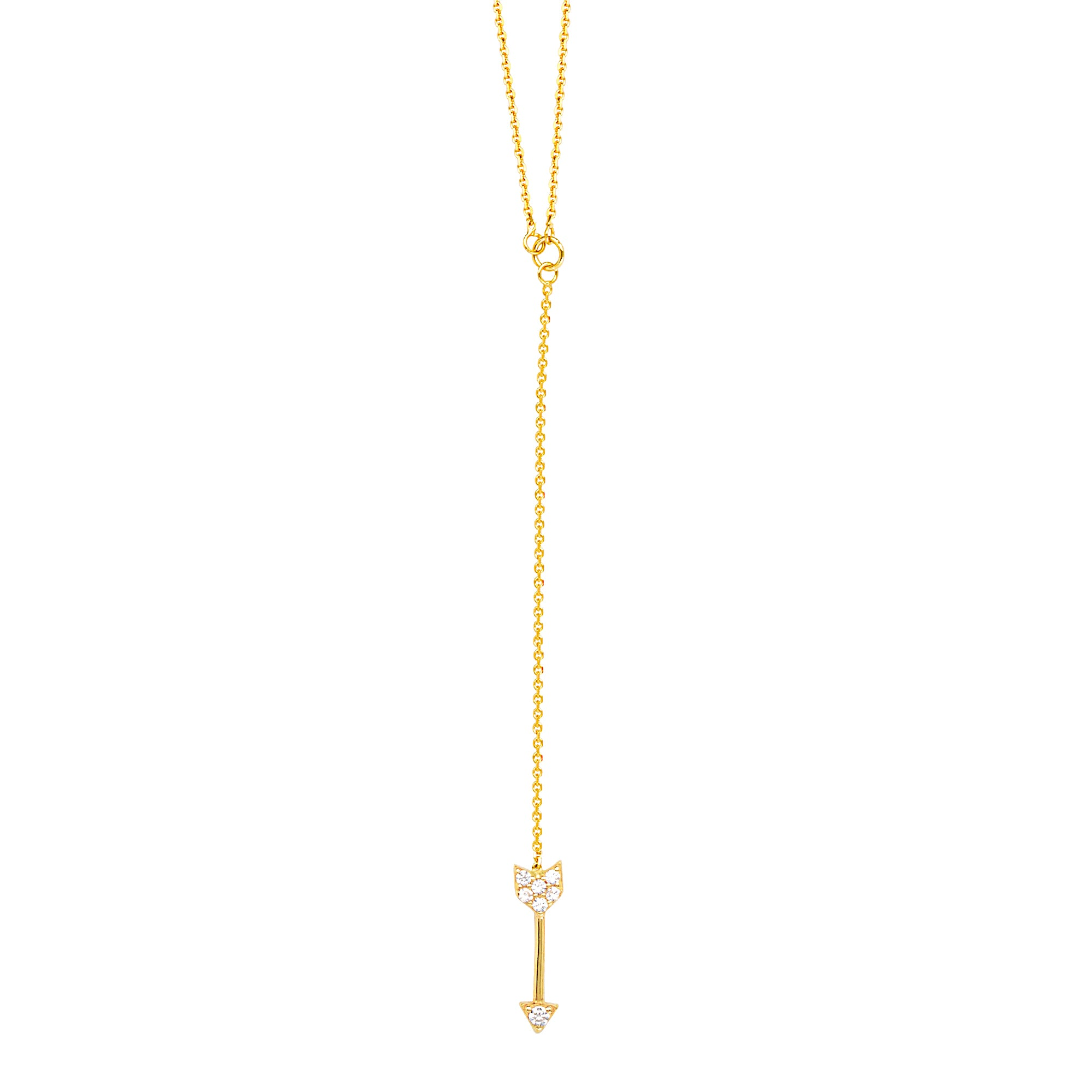 14K Yellow Gold Arrow Lariat Chain Drop Necklace