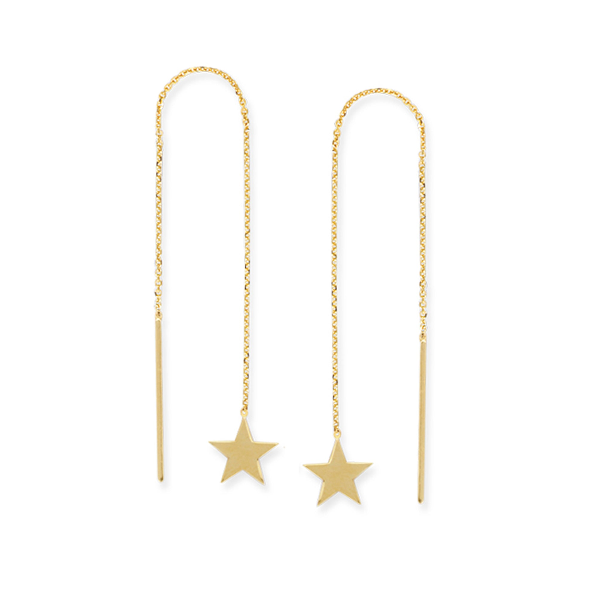 14K Gold Flat Star Threader Earrings with Cable Chain