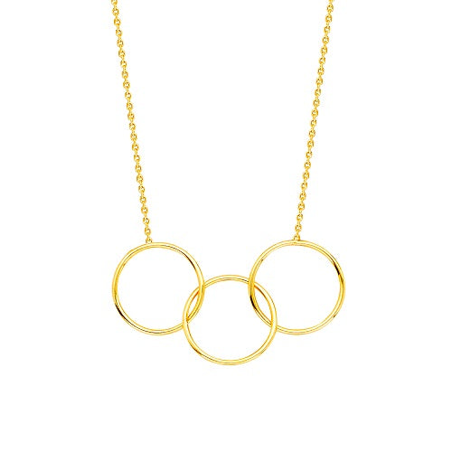 14K Yellow Gold Triple Circle Necklace