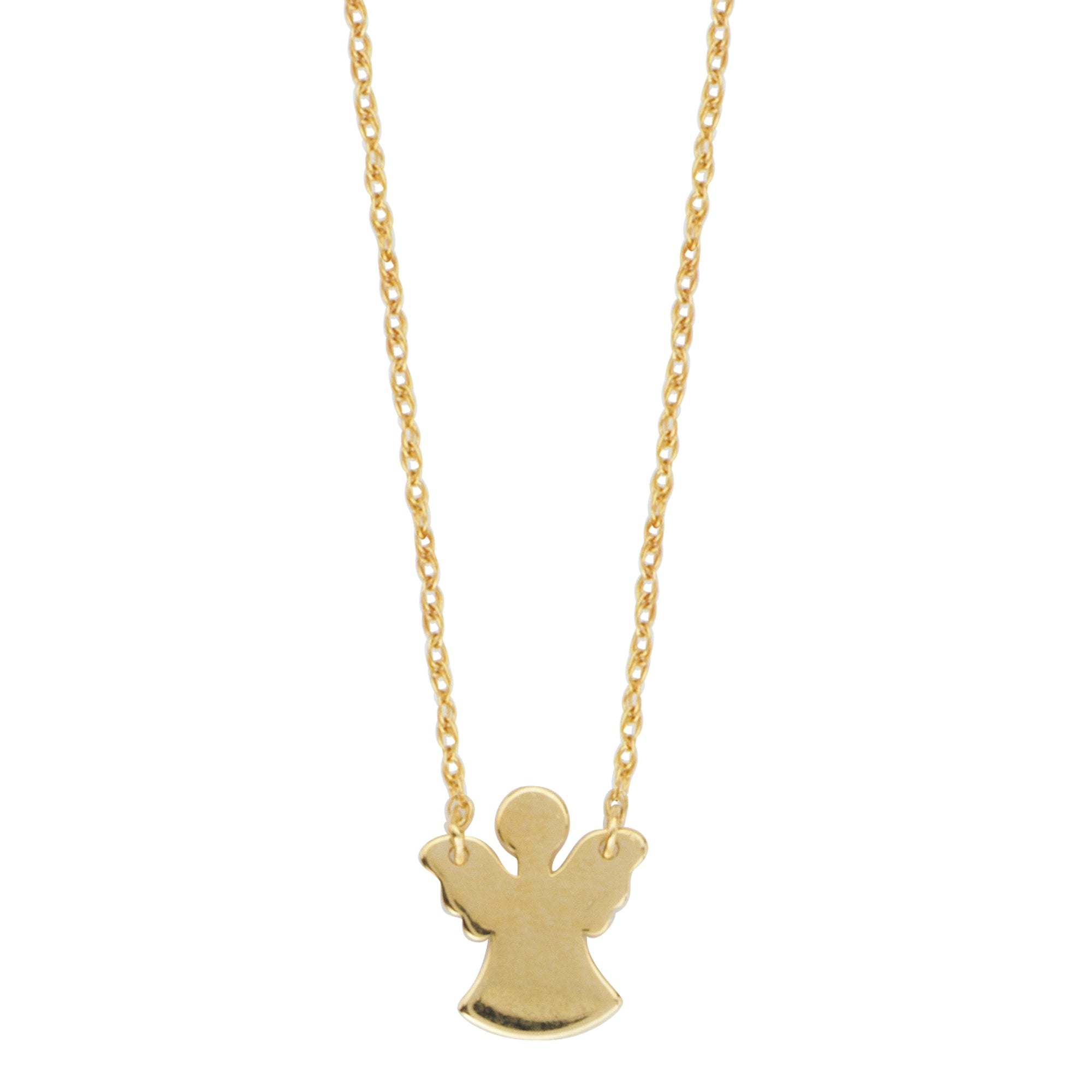 14K Yellow Gold Mini Angel Cut Out Necklace With Rope Chain