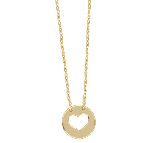 14K Yellow Gold Mini Disk-Cut Out Heart Necklace with Rope Chain