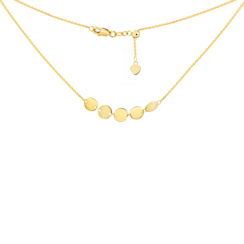 14K Yellow Gold 5 Mini Disc Choker Necklace with adjustable Chain