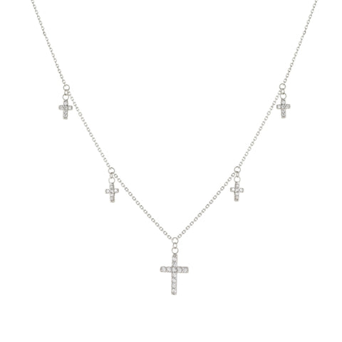Adjustable 5 CZ Crosses Choker Necklace