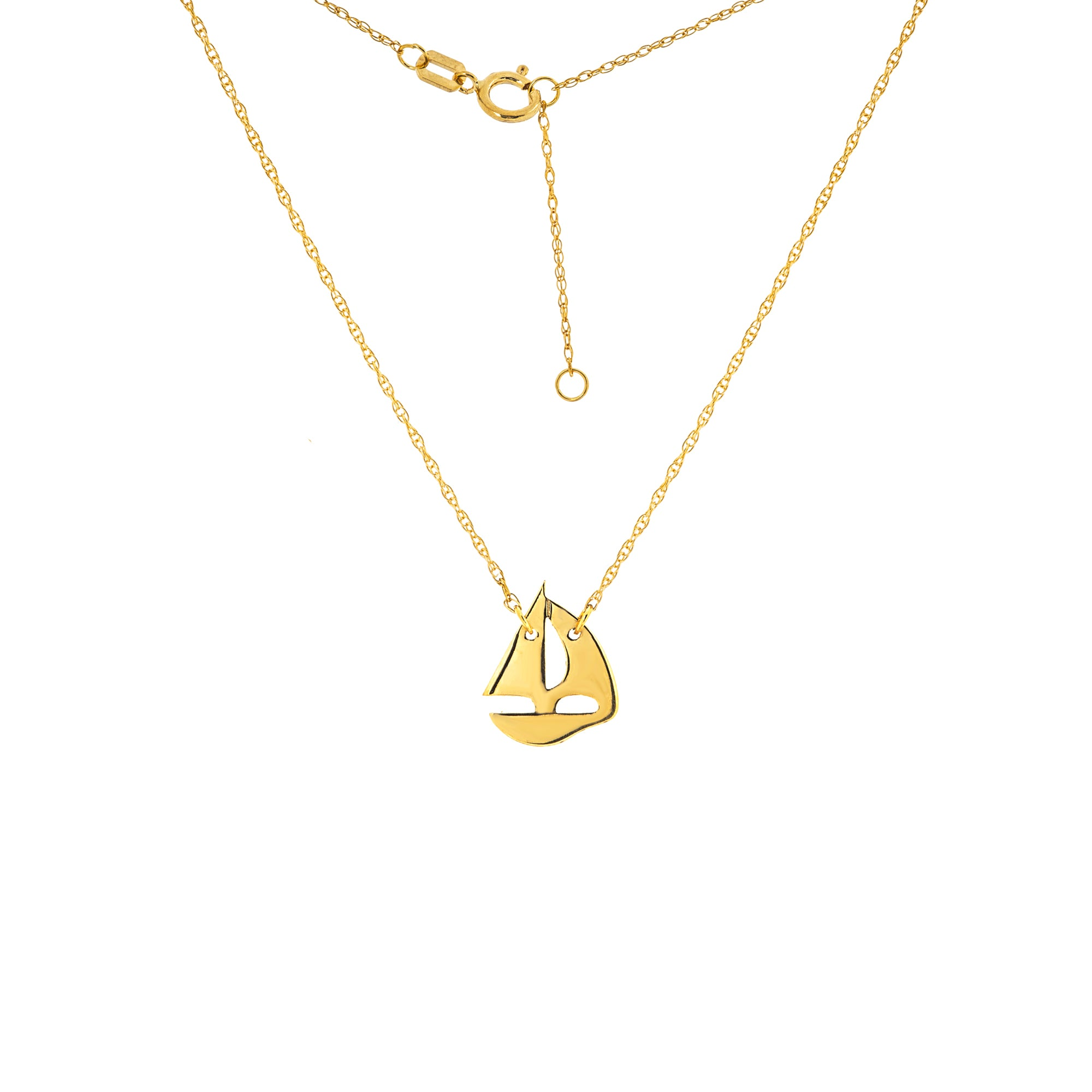 14K Yellow Gold Mini Sailing Boat Necklace With Adjustable Rope Chain