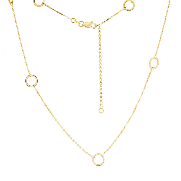 14K Yellow Gold 7 pieces Open Circle Station Adjustable Necklace