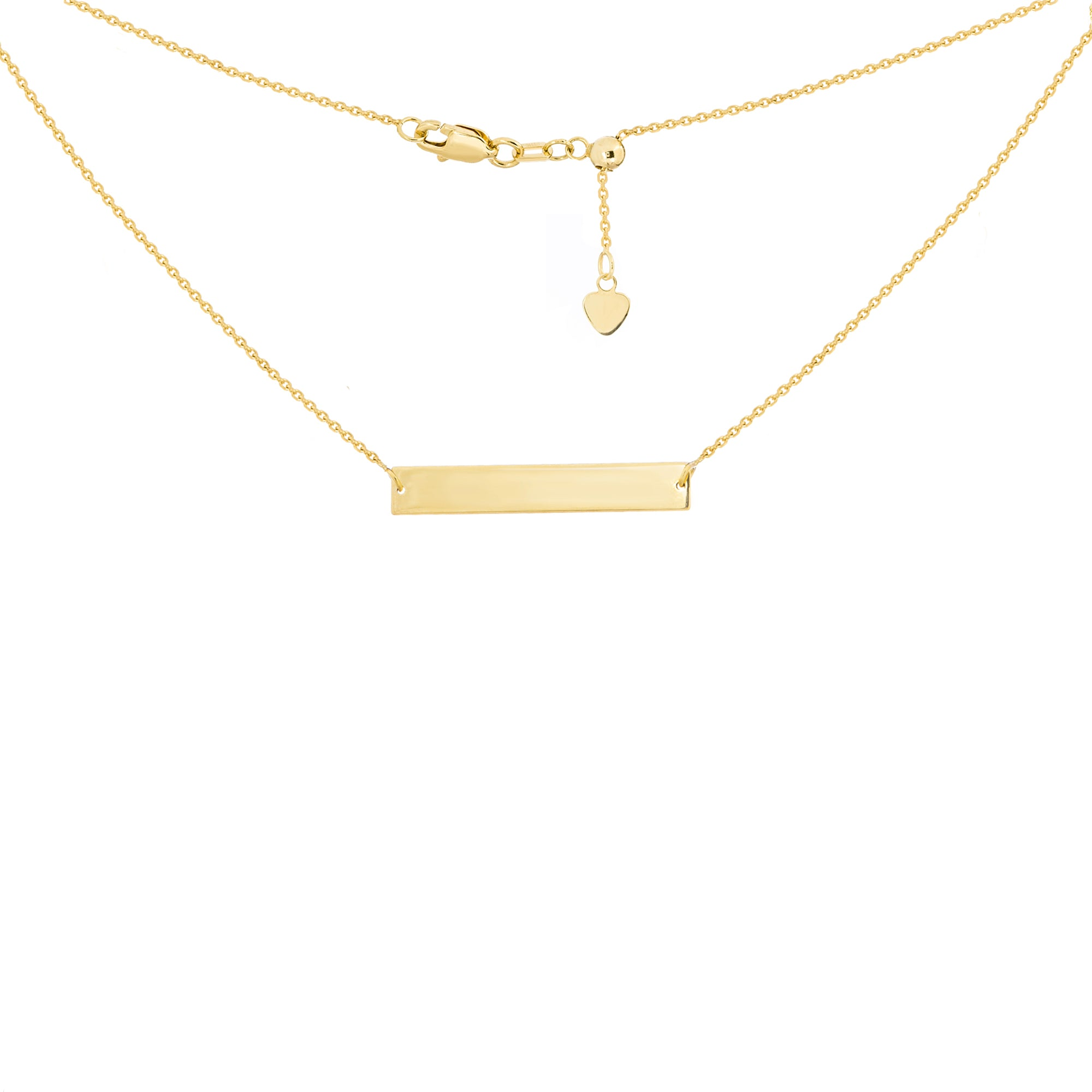 14K Yellow Gold Bar Plate Adjustable Choker Necklace
