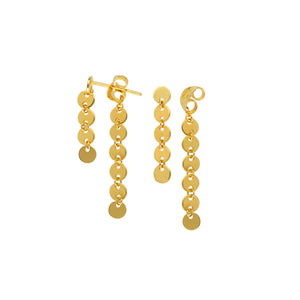 14K Yellow Gold Dangle Disk Double Drop Earrings