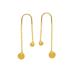 14K Gold Dangle 4 MM and 6 MM Disk Chain Earrings