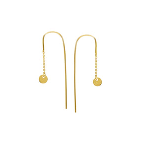14K Yellow Gold 4MM Dangle Disk Hook Earrings