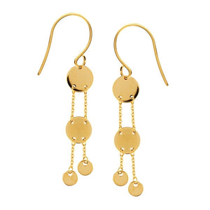 14K Yellow Gold Double Disc Dangle Fishwire Earrings