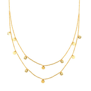 14K Yellow Gold Text/Pol Disc Double Strand BIB Necklace