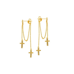 14K Yellow Gold Front to Back Chain Dangle Double Drop Cross Post Earrings