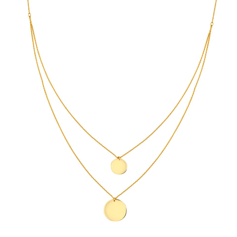 14K Yellow Gold Double Disc Strand BIB Necklace
