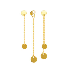 14K Yellow Gold Front to Back Dangle Disc Chain Drop Earrings