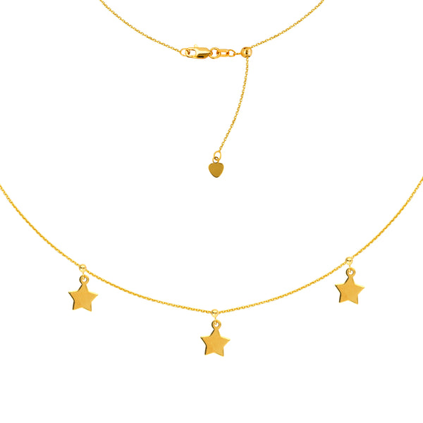 14K Yellow Gold Dangle Triple Star Adjustable Choker Necklace