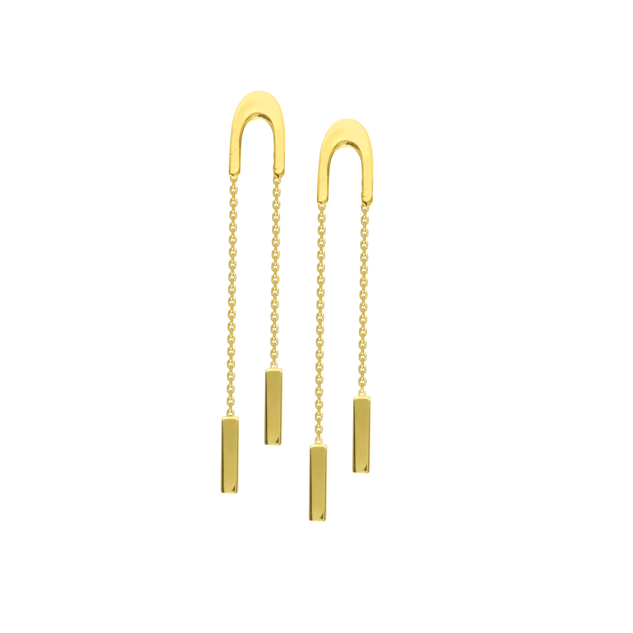 14K Gold U Shape Front Threaders With Dangle 8MM Bar Earrings