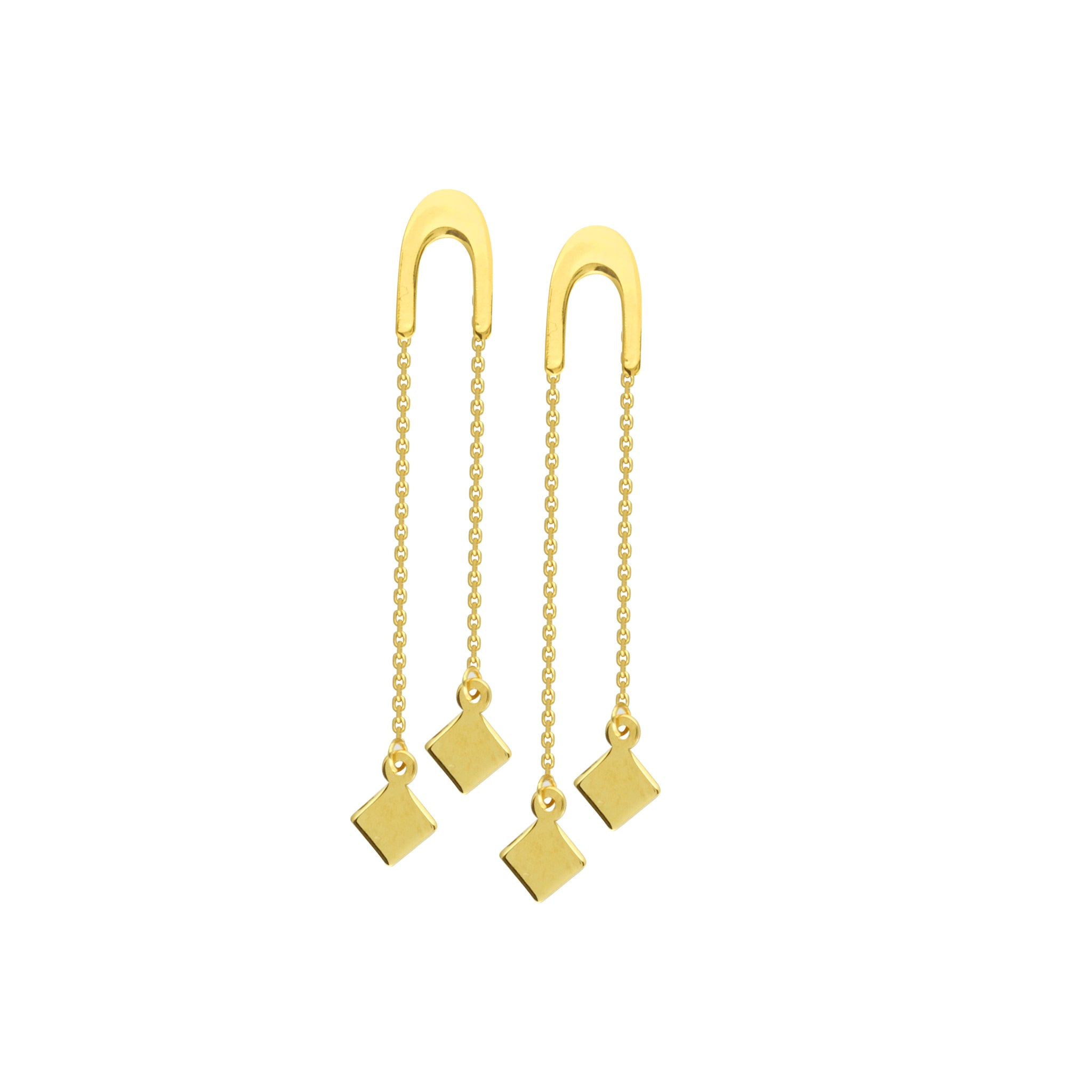 14K Gold U Shape Front Threaders With Dangle Cubes Earrings