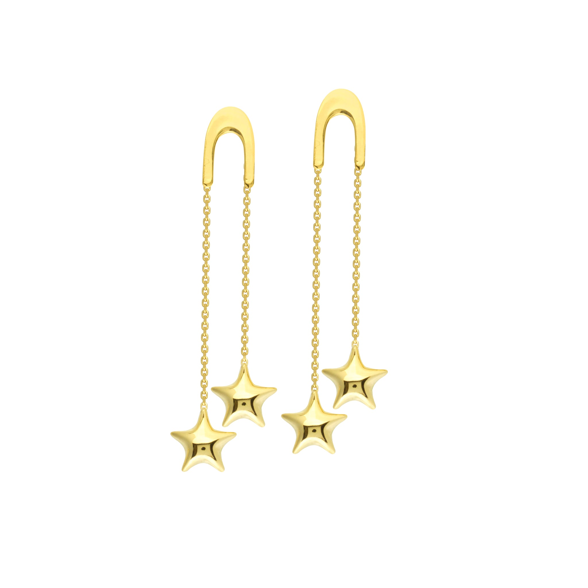 14K Gold U Shape Front Threader Dangle Puff Stars Earrings