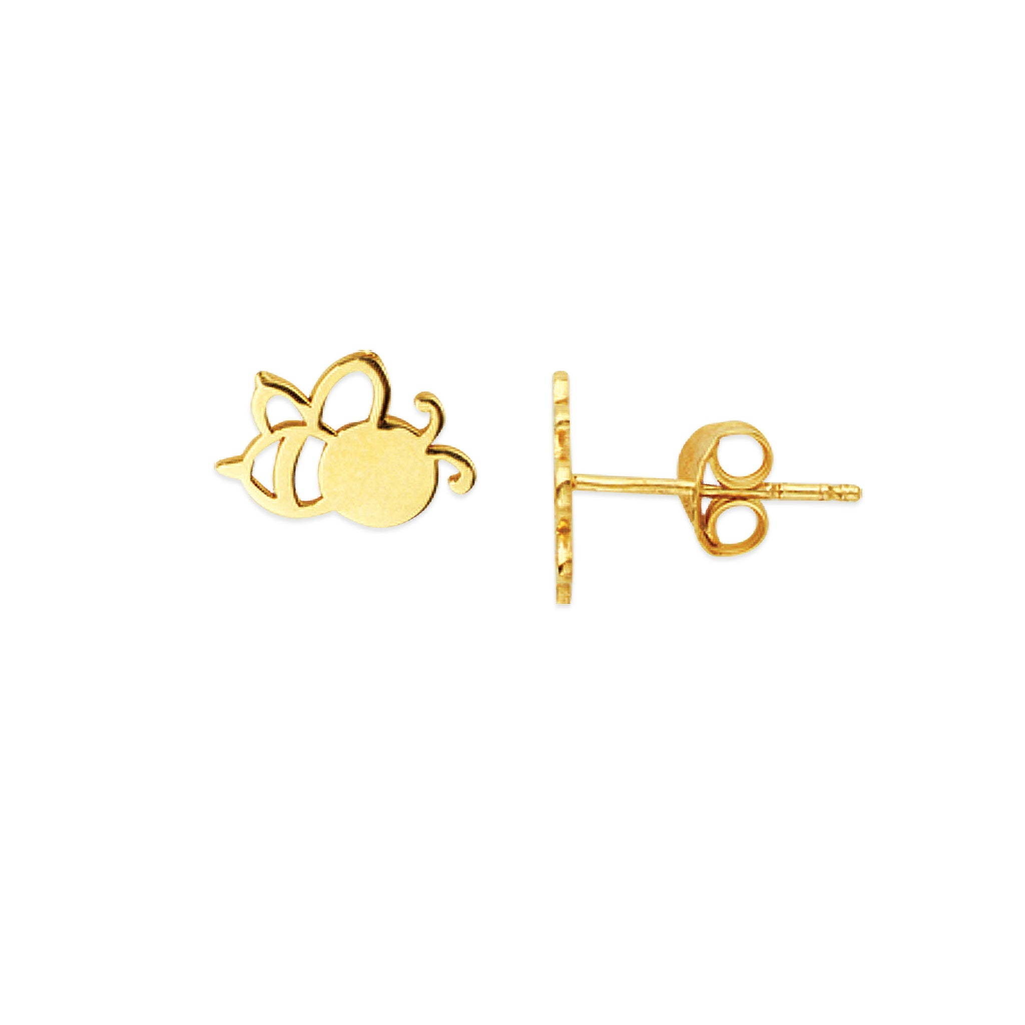 14K Solid Yellow Gold Mini Bee Cut out Stud Earring