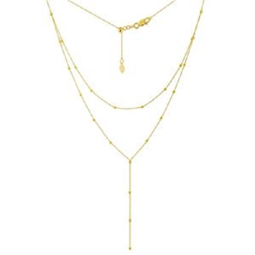 14K Yellow Gold Double Strand Bead Station Adjustable Trendy Choker Necklace
