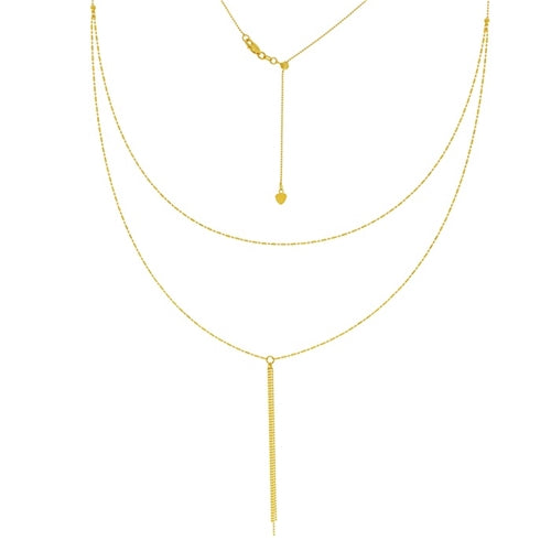 14K Yellow Gold Double Strand Bead and Bar Adjutable Choker Plus Necklace