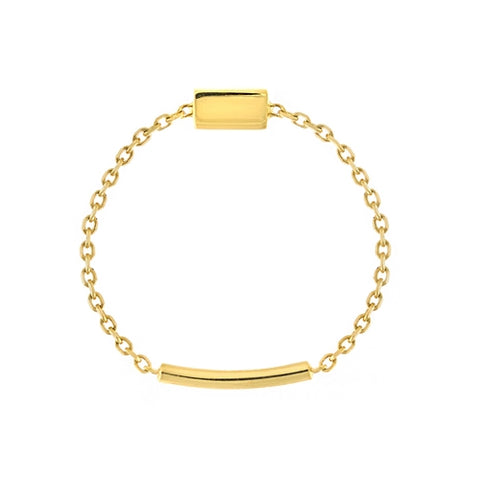 14K Yellow Gold Bar Chain Sizing Bar Ring