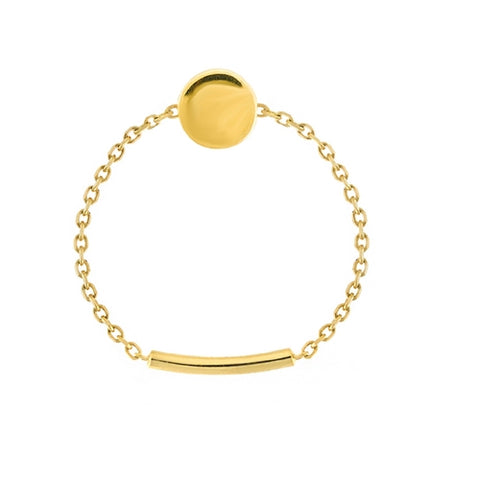 14K Yellow Gold Disk Chain Sizing Bar Ring