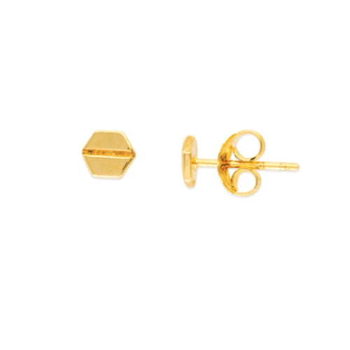 14K Solid Yellow Gold Mini Hexagon Screw Design Stud Earring