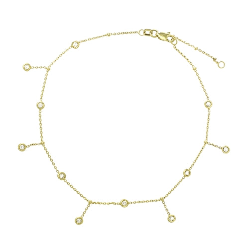 14K Gold Dangle Ankle Bracelet Anklet