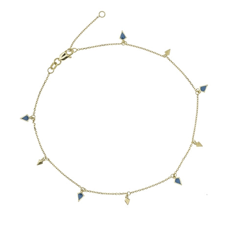 14K Gold Blue Plain Alternate 9PC Dangle Kite Station Adjustable Anklet