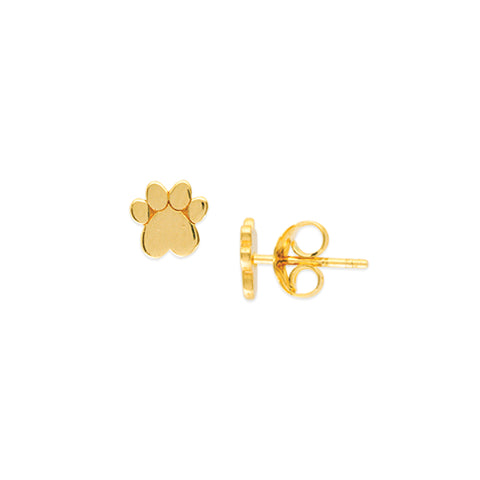 14K Solid Yellow Gold Mini Heart Dog Paw Stud Earring