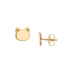 14K Solid Yellow Gold Mini Cat Face Shape Stud Earring