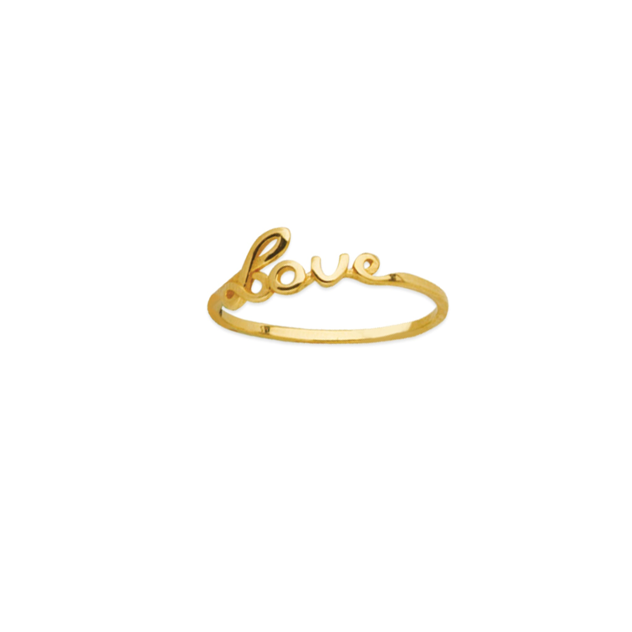 14K Yellow Gold Script LOVE Ring